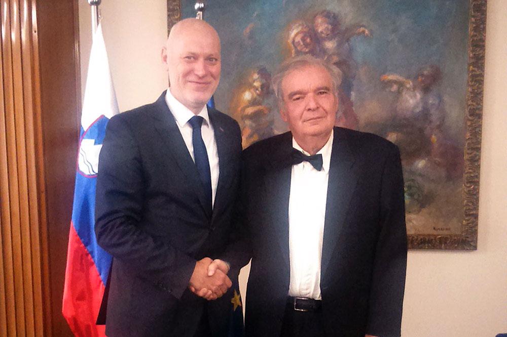 Počasni građanin grada Orahovice, Vojo Lukić posjetio predsjednika Slovenskog parlamenta Milana Brgleza