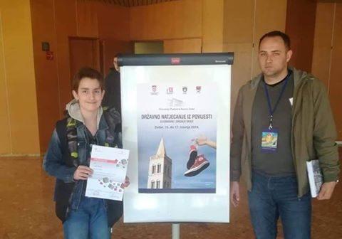 Luka Šabić iz Voćina osvojio treće mjesto na Državnom natjecanju iz povijesti
